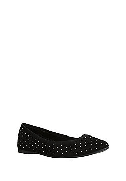 F&F Studded Pointed Toe Ballerina Pumps - Black
