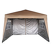 3x3m Pop-up Gazebo With sides 2 Windbars waterproof coating layer Marquee Canopy (Beige)