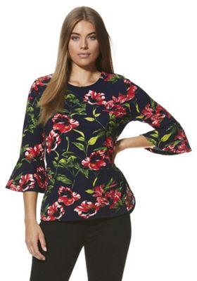 Stella Morgan Floral Print Bell Sleeve Shell Top 8 Multi