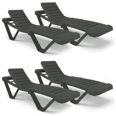 Resol Master Plastic Home Garden Adjustable Reclining Sun Lounger - Grey - Pack of 4