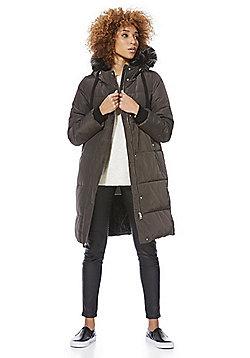 F&F Faux Fur Trim Shower Resistant Puffer Coat - Dark grey