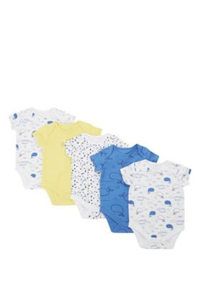 F&F 5 Pack of Whale Print Short Sleeve Bodysuits Blue 0-3 months