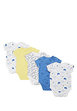 F&F 5 Pack of Whale Print Short Sleeve Bodysuits - Blue