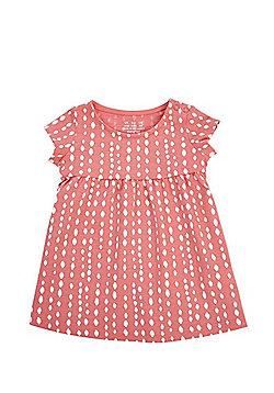 F&F Painted Dot Print Dress - Coral