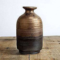 Distorted Bronze Ceramic Urn Lipped Bud Vase