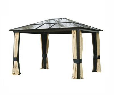 Outsunny 3 x 3.6m Aluminium Gazebo Canopy Hardtop Roof w/ Mesh & Side Walls