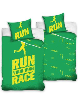 Runners Single Duvet Cover Set Cotton - Green and Yellow