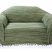 Homescapes Bed Sofa Throw Cotton Chenille Tie Dye Green, 220 x 240 cm