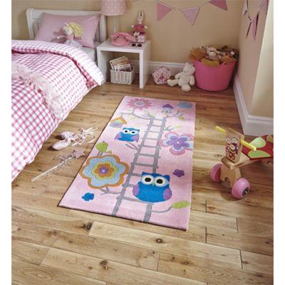 Kids Owl Pink Rug - 70x140cm
