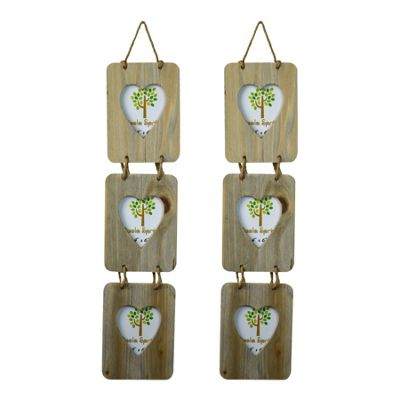 Nicola Spring Triple Heart Wooden 3 Photo Hanging Picture Frame - 4 x 6