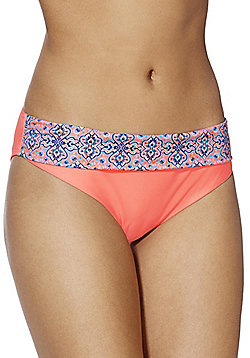 F&F Border Tile Print Fold-Over Bikini Briefs - Orange