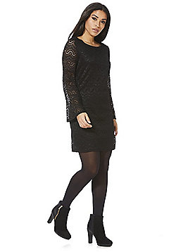 Mela London Lace Flute Sleeve Shift Dress - Black