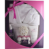 Style & Grace Deluxe Robe Gift Set 250ml Body Wash + 100g Bath Fizzlers + 200ml Body Lotion + Bath Robe (One Size) + Shower Flower (2015)