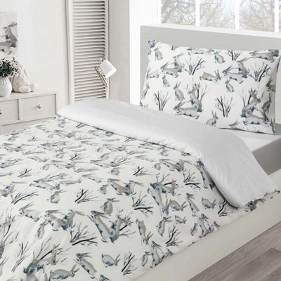 Homescapes White and Grey Rabbits 100% Cotton Childrens Duvet Cover Set, Single