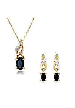 Gemondo 9ct Yellow Gold Sapphire & Diamond Classic Oval Drop Earrings & 45cm Necklace Set