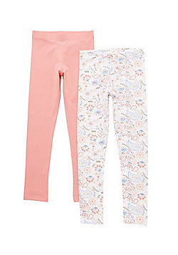 F&F 2 Pack of Paisley and Plain Leggings with As New Technology - Multi