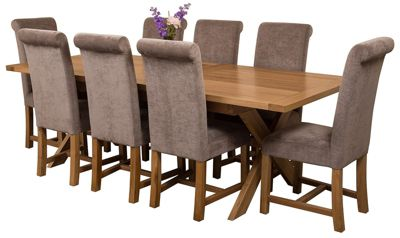Vermont Extending Kitchen Solid Oak Dining Set Table & 8 Grey Fabric Chairs