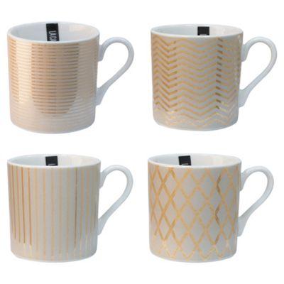 Set of 4 La Cafetiere Fine China Mettalic Espresso Cups