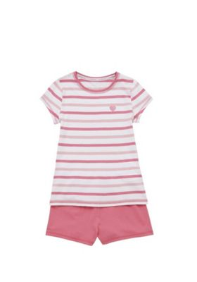 F&F Stripe Heart Motif Pyjamas Pink 2-3 years