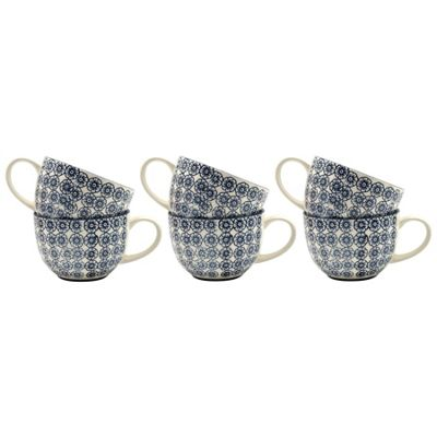 Nicola Spring Patterned Vintage Style Cappuccino / Coffee / Tea Cups - 250ml Blue Flower Print Design - Box Of 6