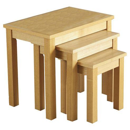 Home Essence Alexander Nest of Tables in Natural Oak Veneer