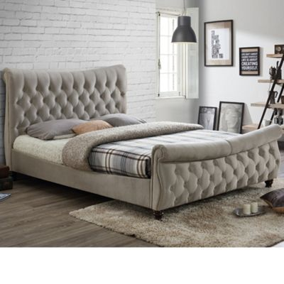 Happy Beds Copenhagen Velvet Fabric Scroll Sleigh Bed with Orthopaedic Mattress - Warm Stone - 6ft Super King