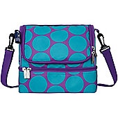 Large Kids Lunch Bags, Dual Compartment Lunch Bags- Blue Dots, Double Decker Lunch Bag