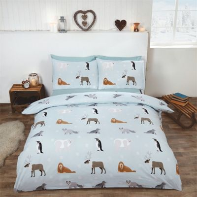 Rapport Winter Animals Ice Blue Brushed Cotton Duvet Cover Set - Single