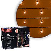 Christow Warm White LED Battery Timer Christmas Lights - 100