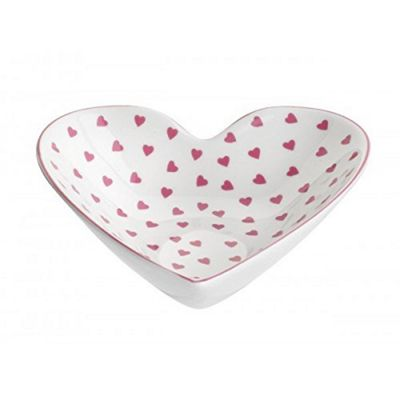 Nina Campbell Medium Heart Shaped Dish, Pink Hearts Design