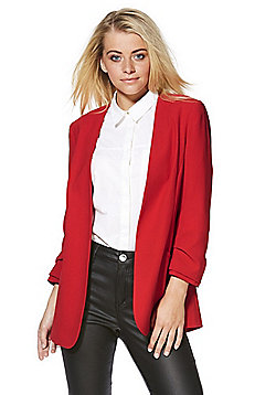 F&F Open Front Ruched Sleeve Blazer - Red
