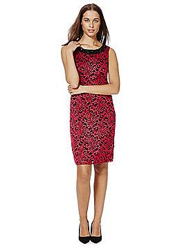 Roman Originals Embellished Neckline Floral Lace Shift Dress - Red & Black