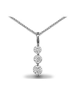 Jewelco London Rhodium Coated Sterling Silver CZ Trilogy Charm Pendant - 18 inch Chain