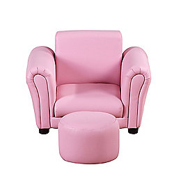 Homcom Single Seater Set Children Couch Armchair w/ Free Footstool (Pink)