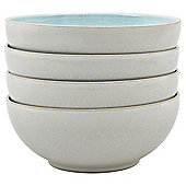 Denby Essentials White & Duck Egg 4 Piece Coupe Cereal Bowl Set