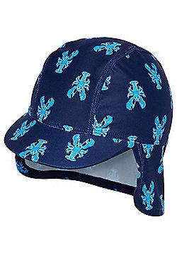 F&F Lobster Print UPF 50+ Kepi Hat - Navy