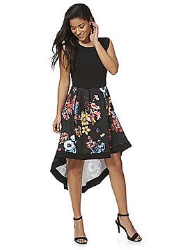 Feverfish Floral Print High-Low Hem Dress - Black