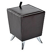 Homcom Cube Storage Stool Living Room Faux Leather Ottoman Modern Style Footrest (Brown)