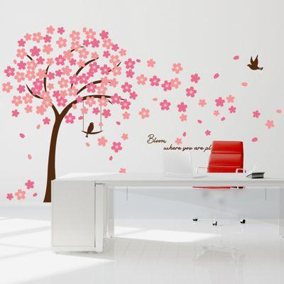 Walplus Pink Cherry Blossom Wall Stickers