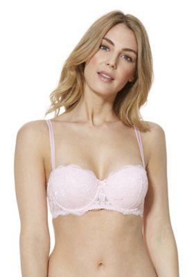 F&F Signature Rae Lace Padded Balcony Bra Blush Pink 34 B cup