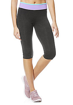 F&F Active Striped Waistband Capris - Grey