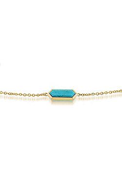 Gemondo 925 Gold Plated Silver 1.70ct Turquoise Hexagonal Prism Bracelet 19cm