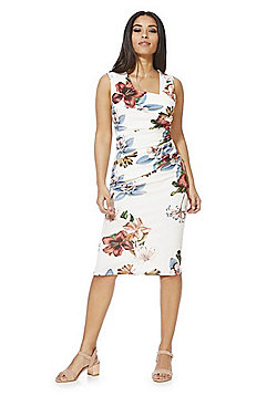 Feverfish Asymmetric Ruched Pleat Pencil Dress - Cream & Multi