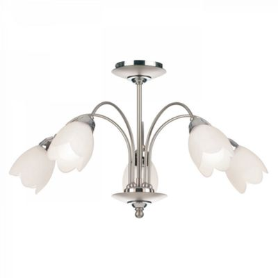 Satin Chrome Effect Plate & Matt Opal Glass 5lt Semi Flush 40W