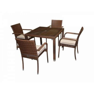 Roma 4 Chairs And Open Leg Square Table Set in Chocolate Mix and Coffee Cream
