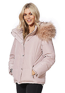 F&F Faux Fur Trim Shower Resistant Padded Jacket - Light pink