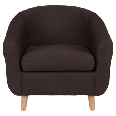 Retro Fabric Tub Chair Charcoal