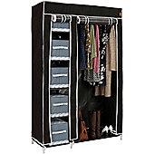 VonHaus Double Canvas Wardrobe Clothes Hanging Rail Shelves Storage Cupboard Black