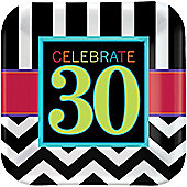 30th Birthday Plates - 23cm Paper Party Plates - 8 Pack