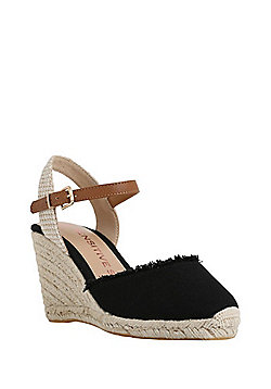 F&F Sensitive Sole Frayed Wedge Wide Fit Espadrilles - Black